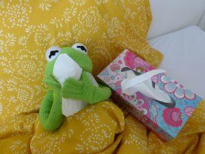 Kermit der Frosch niest in ein Taschentuch
